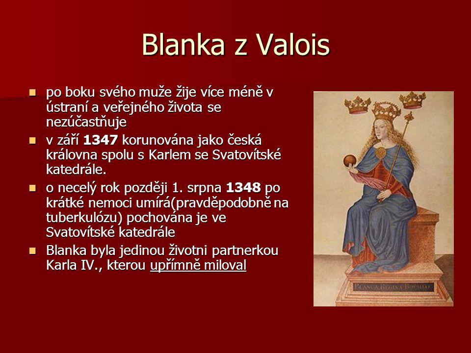 Úspěchy manželství Děti: Děti: Z jejich svazku se narodily dvě dcery: Z jejich svazku se narodily dvě dcery: Markéta- manželka uherského krále Ludvíka I z Anjou, Markéta- manželka uherského krále Ludvíka I z Anjou, Kateřina-choť pozdějšího Karlova rivala, rakouského vévody Rudolfa IV., a po jeho smrti žena braniborského markraběte Kateřina-choť pozdějšího Karlova rivala, rakouského vévody Rudolfa IV., a po jeho smrti žena braniborského markraběte Význam: Význam: 1328 vymřela hlavní větev Kapetovců a králem se stává první příslušník poboční větve Valois, Blančin starší bratr Filip VI.- to umožnilo Karlovi zůstat na francouzském dvoře a zajistilo podporu francouzského krále v budoucím životě.