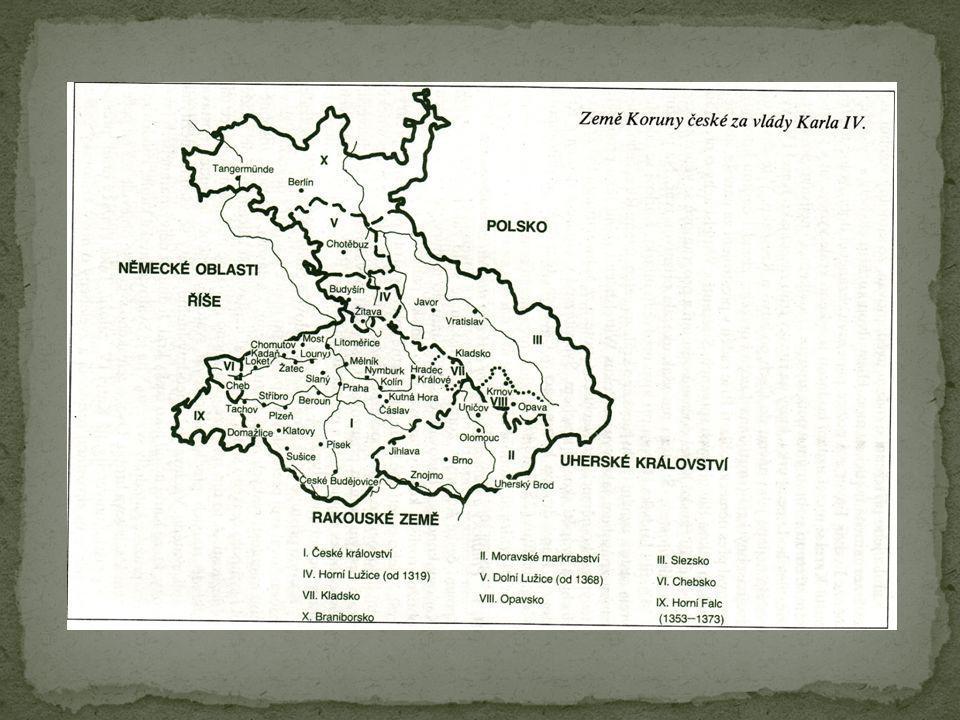 Po volbě (1347) se mohl král český a římský věnovat poměrům doma, tedy v českém království Spojení české koruny a koruny římské se stalo základním článkem jeho koncepce budování českého státu Český stát považoval za nejcelistvější, hospodářsky nejmocnější a nejstabilnější součást Svaté říše římské České země se měly stát jádrem rodových držav lucemburské dynastie