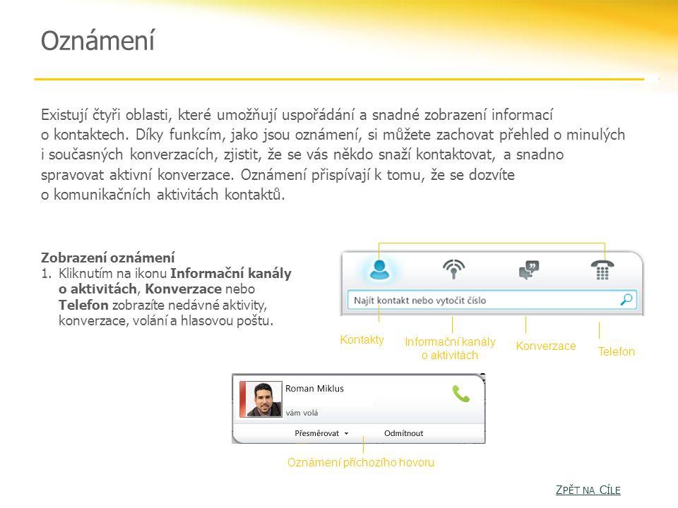Oznámení Existují čtyři oblasti, které umožňují uspořádání a snadné zobrazení informací o kontaktech.