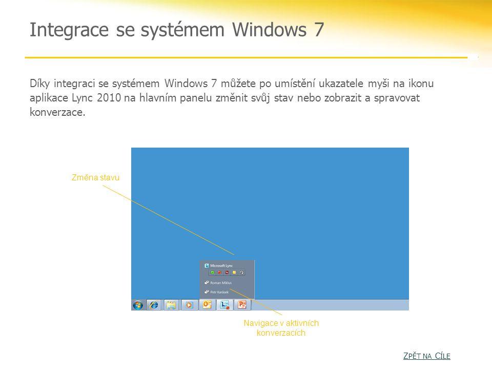 Integrace se systémem Windows 7 Díky integraci se systémem Windows 7 můžete po umístění ukazatele myši na ikonu aplikace Lync 2010 na hlavním panelu změnit svůj stav nebo zobrazit a spravovat konverzace.