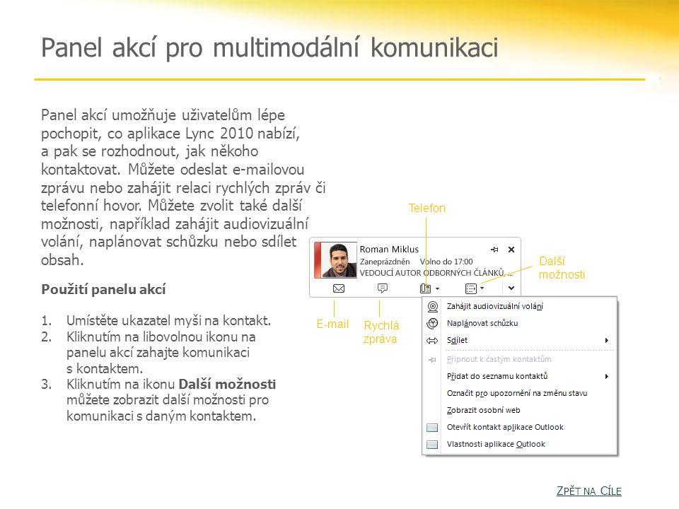Panel akcí pro multimodální komunikaci Panel akcí umožňuje uživatelům lépe pochopit, co aplikace Lync 2010 nabízí, a pak se rozhodnout, jak někoho kontaktovat.