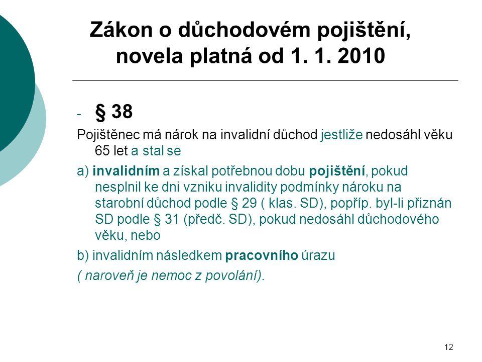 12 - § 38 Pojištěnec má nárok na invalidní důchod jestliže nedosáhl věku 65 let a stal se a) invalidním a získal potřebnou dobu pojištění, pokud nespl