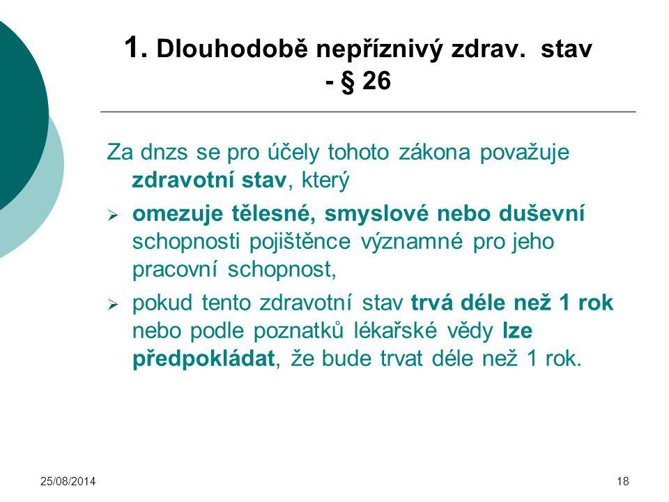 25/08/201418 1. Dlouhodobě nepříznivý zdrav. stav - § 26 Za dnzs se pro účely tohoto zákona považuje zdravotní stav, který  omezuje tělesné, smyslové