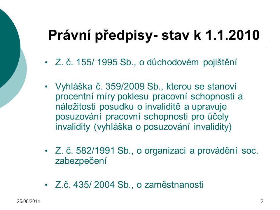 25/08/20142 Právní předpisy- stav k 1.1.2010 Z. č. 155/ 1995 Sb., o důchodovém pojištění Vyhláška č. 359/2009 Sb., kterou se stanoví procentní míry po