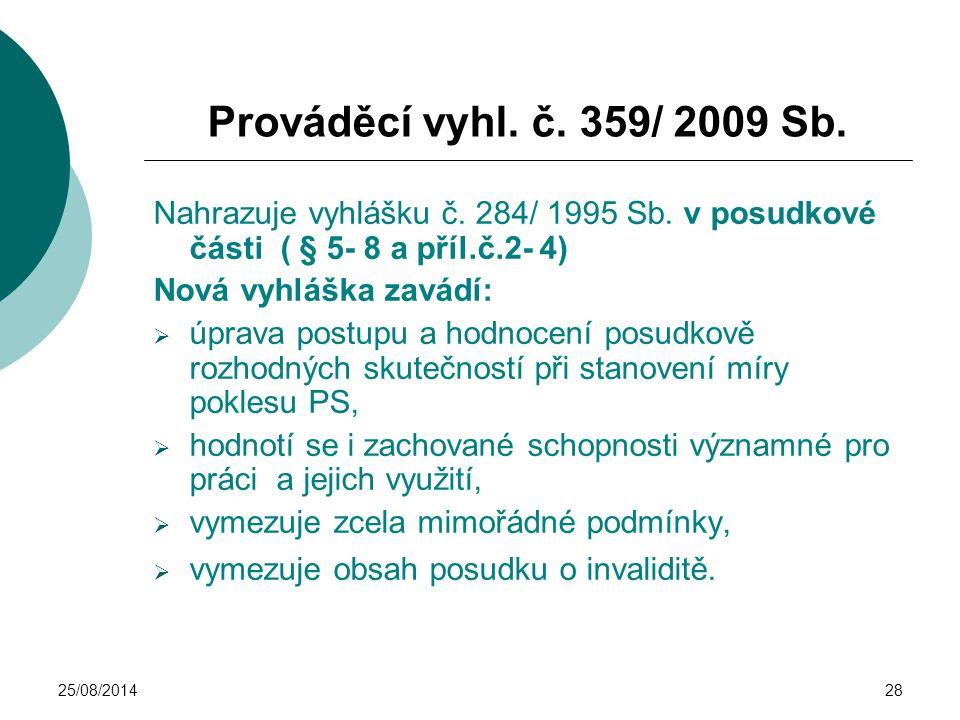 25/08/201428 Prováděcí vyhl. č. 359/ 2009 Sb. Nahrazuje vyhlášku č. 284/ 1995 Sb. v posudkové části ( § 5- 8 a příl.č.2- 4) Nová vyhláška zavádí:  úp