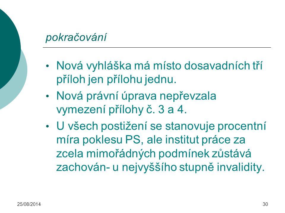 25/08/201430 pokračování Nová vyhláška má místo dosavadních tří příloh jen přílohu jednu. Nová právní úprava nepřevzala vymezení přílohy č. 3 a 4. U v