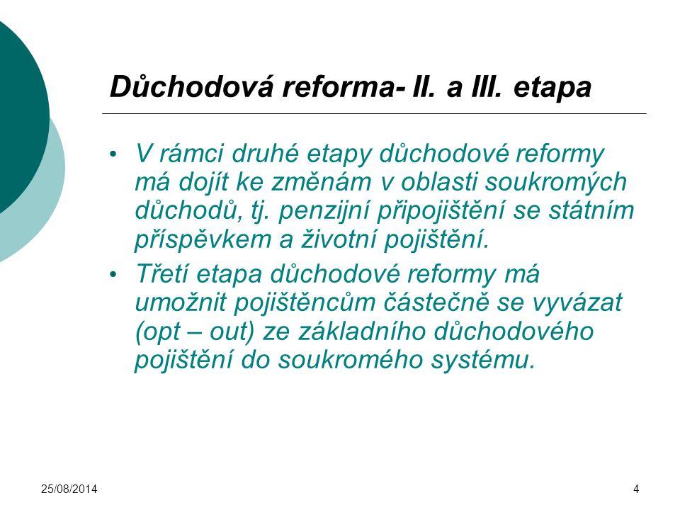 25/08/20144 Důchodová reforma- II. a III. etapa V rámci druhé etapy důchodové reformy má dojít ke změnám v oblasti soukromých důchodů, tj. penzijní př