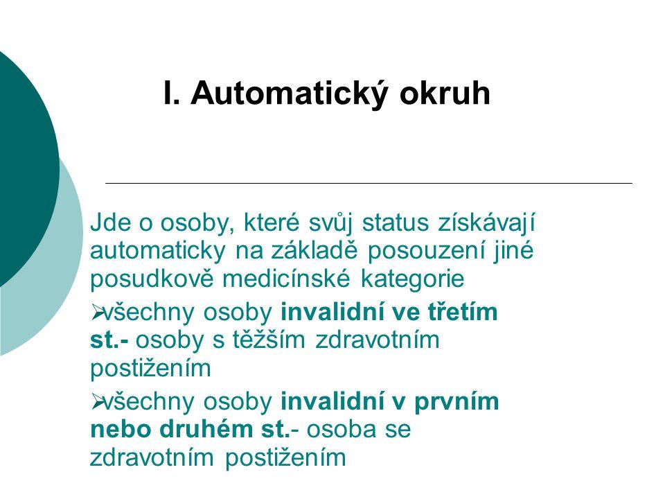 I. Automatický okruh Jde o osoby, které svůj status získávají automaticky na základě posouzení jiné posudkově medicínské kategorie  všechny osoby inv