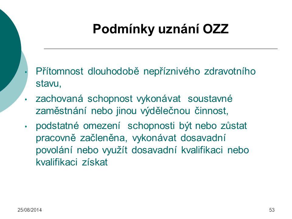 25/08/201453 Podmínky uznání OZZ Přítomnost dlouhodobě nepříznivého zdravotního stavu, zachovaná schopnost vykonávat soustavné zaměstnání nebo jinou v
