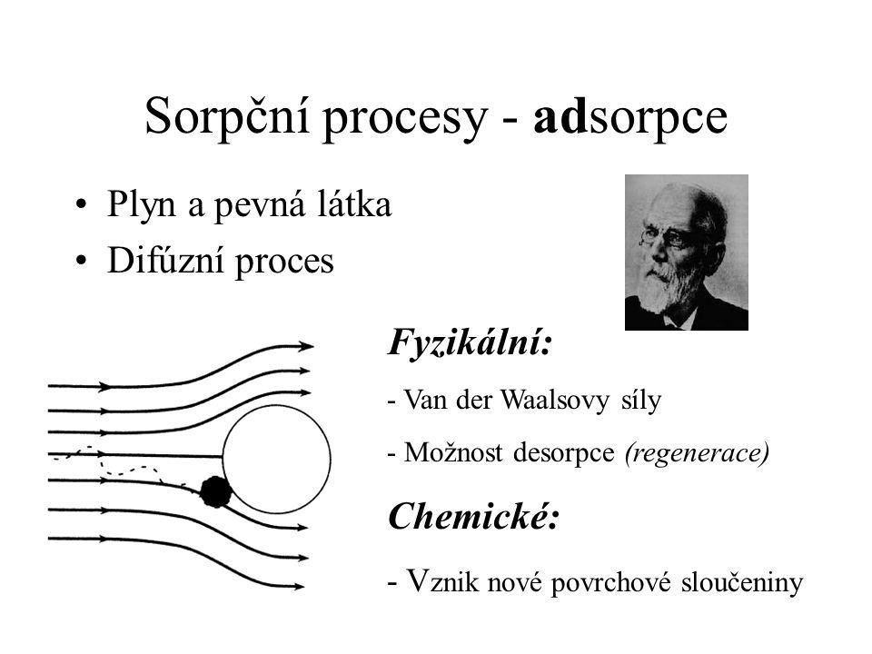 Sorpční procesy - adsorpce Plyn a pevná látka Difúzní proces Fyzikální: - Van der Waalsovy síly - Možnost desorpce (regenerace) Chemické: - V znik nové povrchové sloučeniny
