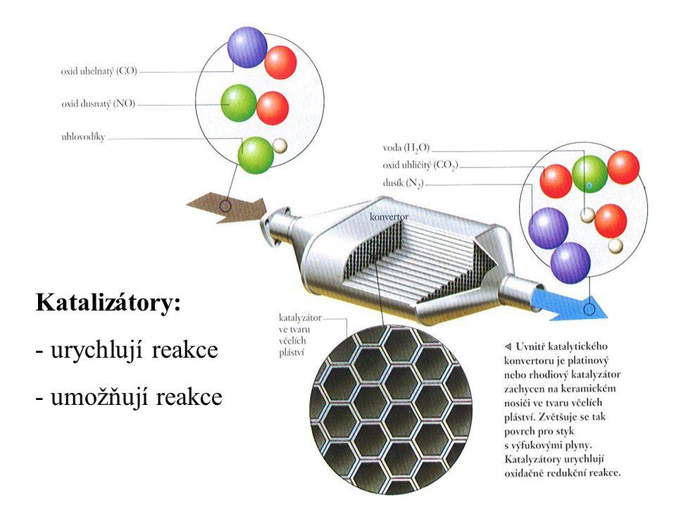 Katalizátory: - urychlují reakce - umožňují reakce