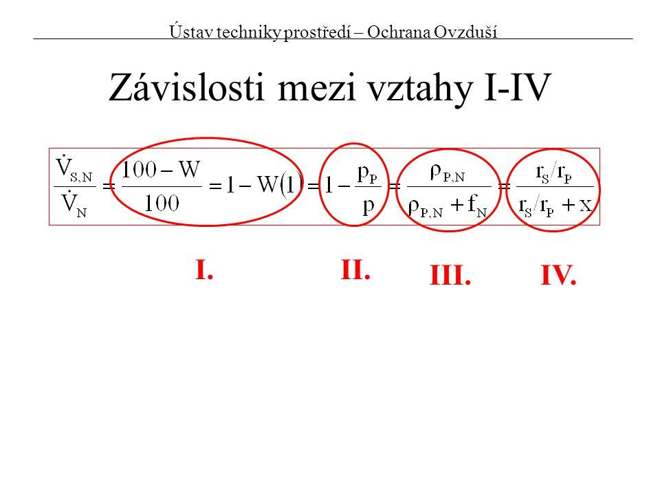 Závislosti mezi vztahy I-IV I.II. III.IV. Ústav techniky prostředí – Ochrana Ovzduší