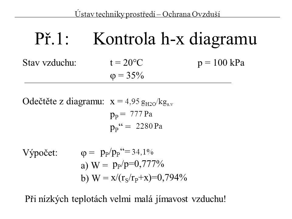 """Př.1:Kontrola h-x diagramu Stav vzduchu:t = 20°Cp = 100 kPa  = 35% Odečtěte z diagramu:x = p P = p P """" = Výpočet:  = a) W = b) W = 4,95 g H2O /kg s."""