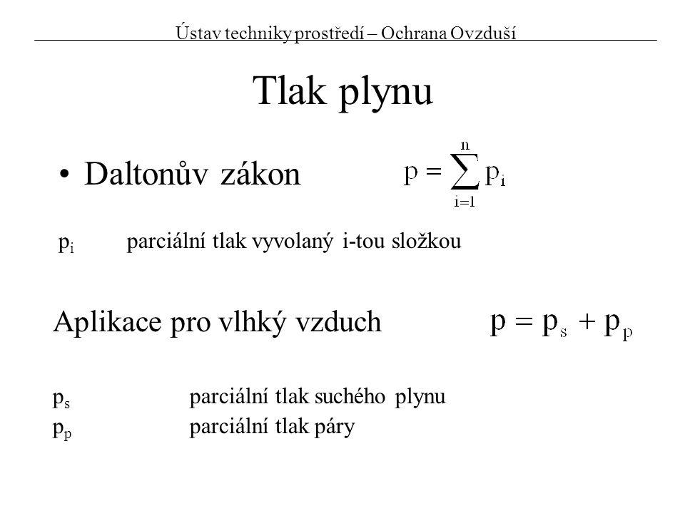 Hustota plynu a) pomocí Daltonova zákona  s hustota suchého plynu (p p, T)  p hustota vodní páry (p s, T) r s plynová konstanta suchého plynu (r s =287,1 J/kgK) r p plynová konstanta vodní páry (r p =461,6 J/kgK) Vlhký vzduch je lehčí než suchý Ústav techniky prostředí – Ochrana Ovzduší