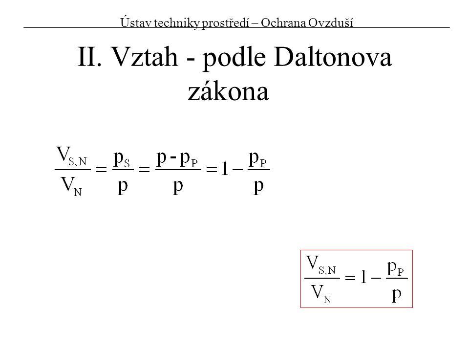 Př.2:Kontrola dle sušárenského diagramu Stav vzduchu:t = 150°Cp = 98 kPa x = 100g H2O /kg s.v Odečtěte z diagramu:p P = Vypočtěte:a) W = b) W = p P /p=13,8% 13 500 Pa x/(r S /r P +x)=13,8% Horký vzduch nad 100°C může nést takřka neomezené množství vodní páry Ústav techniky prostředí – Ochrana Ovzduší