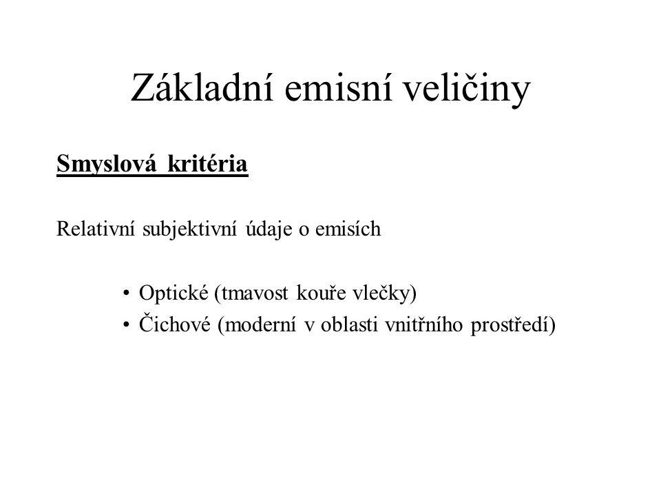 Základní emisní veličiny Smyslová kritéria Relativní subjektivní údaje o emisích Optické (tmavost kouře vlečky) Čichové (moderní v oblasti vnitřního p