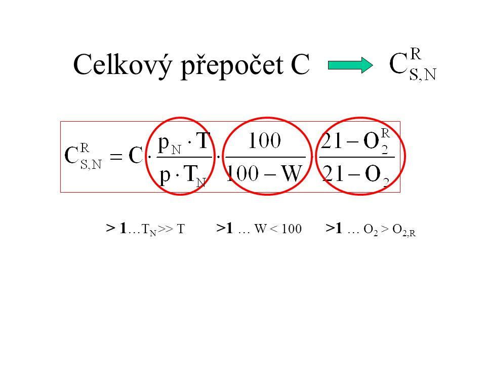 Celkový přepočet C > 1 …T N >> T >1 … W < 100 >1 … O 2 > O 2,R