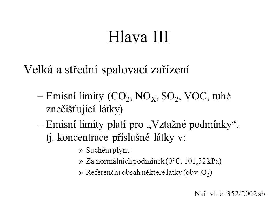 """Hlava III Velká a střední spalovací zařízení –Emisní limity (CO 2, NO X, SO 2, VOC, tuhé znečišťující látky) –Emisní limity platí pro """"Vztažné podmínk"""