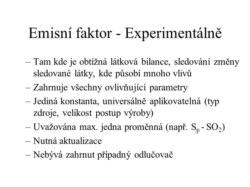 Emisní faktor - Experimentálně –Tam kde je obtížná látková bilance, sledování změny sledované látky, kde působí mnoho vlivů –Zahrnuje všechny ovlivňuj