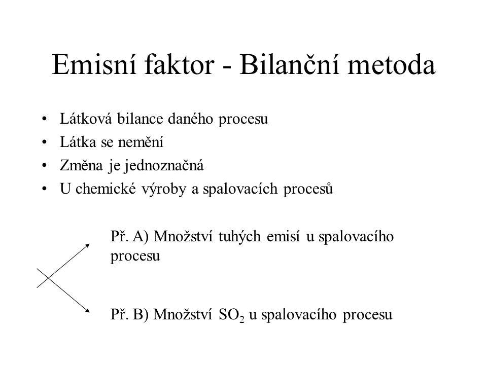 Emisní faktor - Bilanční metoda Látková bilance daného procesu Látka se nemění Změna je jednoznačná U chemické výroby a spalovacích procesů Př. A) Mno