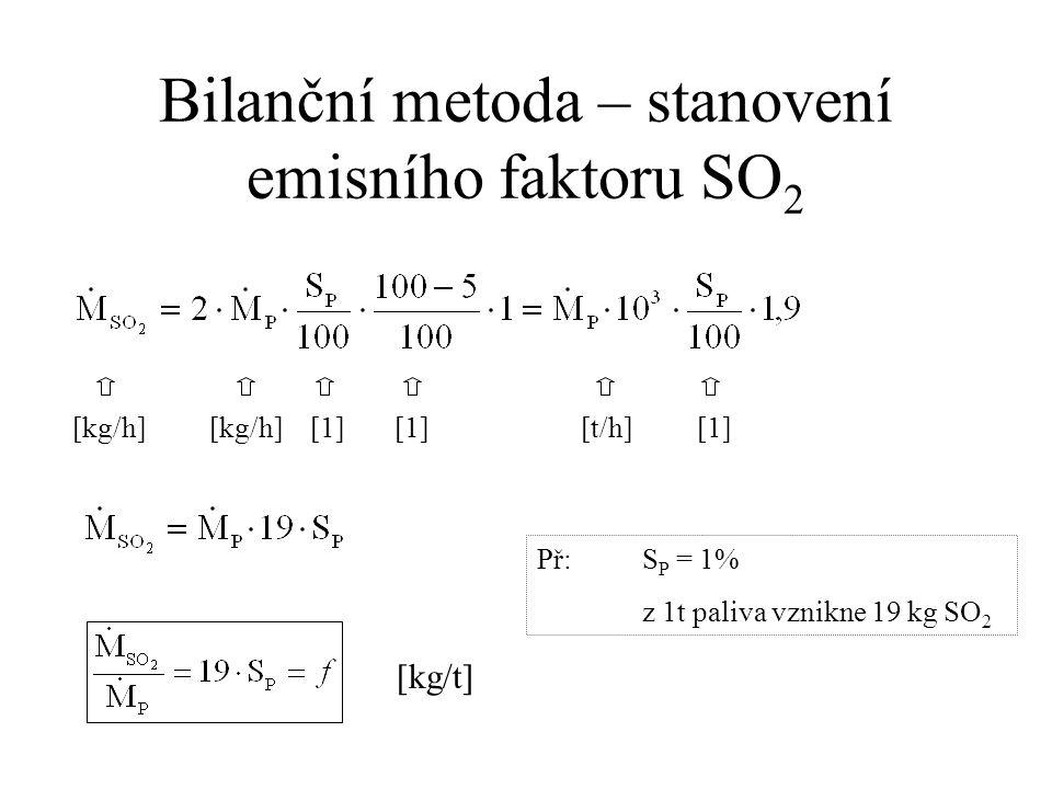 Bilanční metoda – stanovení emisního faktoru SO 2 [kg/h] [kg/h] [1] [1] [t/h] [1] [kg/t] Př:S P = 1% z 1t paliva vznikne 19 kg SO 2