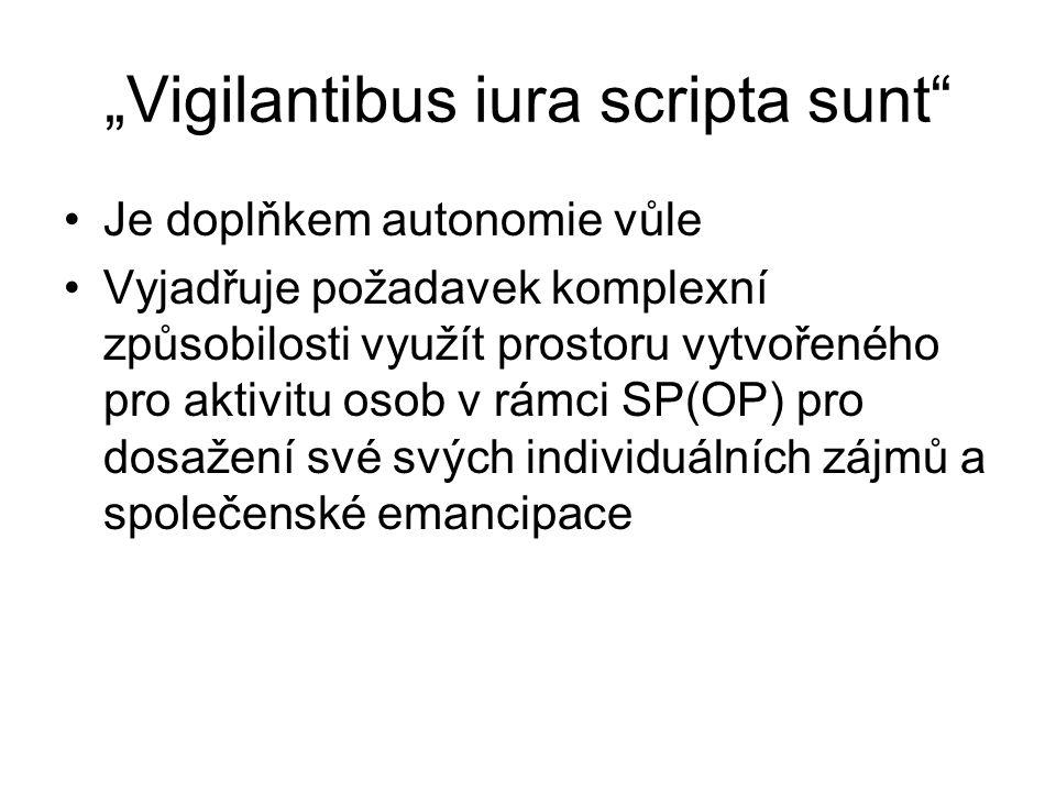 """""""Vigilantibus iura scripta sunt"""" Je doplňkem autonomie vůle Vyjadřuje požadavek komplexní způsobilosti využít prostoru vytvořeného pro aktivitu osob v"""