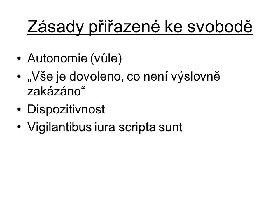 """Zásady přiřazené ke svobodě Autonomie (vůle) """"Vše je dovoleno, co není výslovně zakázáno"""" Dispozitivnost Vigilantibus iura scripta sunt"""