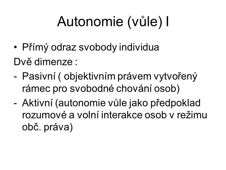 Autonomie (vůle) I Přímý odraz svobody individua Dvě dimenze : -Pasivní ( objektivním právem vytvořený rámec pro svobodné chování osob) -Aktivní (auto