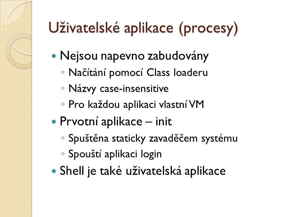 Uživatelské aplikace (procesy) Nejsou napevno zabudovány ◦ Načítání pomocí Class loaderu ◦ Názvy case-insensitive ◦ Pro každou aplikaci vlastní VM Prv