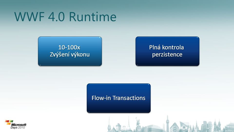 WWF 4.0 Runtime Plná kontrola perzistence perzistence10-100x Zvýšení výkonu 10-100x Flow-in Transactions