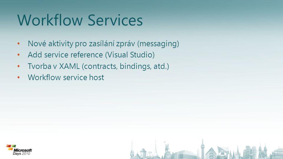 Workflow Services Nové aktivity pro zasílání zpráv (messaging) Add service reference (Visual Studio) Tvorba v XAML (contracts, bindings, atd.) Workflow service host