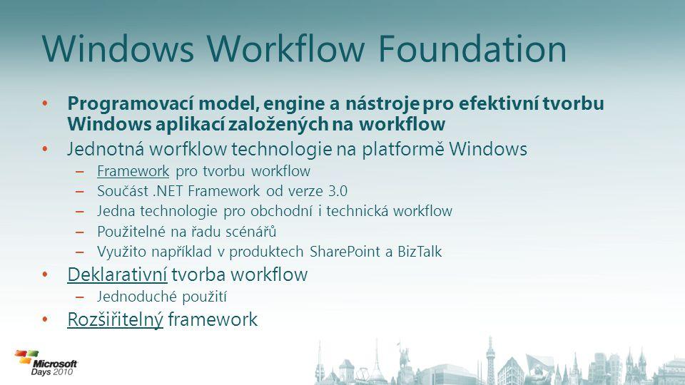 Architektura Klíčové koncepty – Workflow je složeno z aktivit – Workflow běží v rámci hostitelského procesu Jakákoli aplikace či server – Vývojáři mohou tvořit vlastní knihovny aktivit Komponenty – Base Activity Library: Out-of-box aktivity a základ pro tvorbu vlastních aktivit – Runtime Engine: Zajištění běhu workflow a řízení stavu – Runtime Services: Flexibilita hostitelského prostředí a komunikace s okolím – Visual Designer: Grafická tvorba workflow