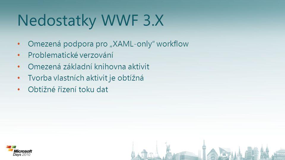 """Nedostatky WWF 3.X Omezená podpora pro """"XAML-only workflow Problematické verzování Omezená základní knihovna aktivit Tvorba vlastních aktivit je obtížná Obtížné řízení toku dat"""