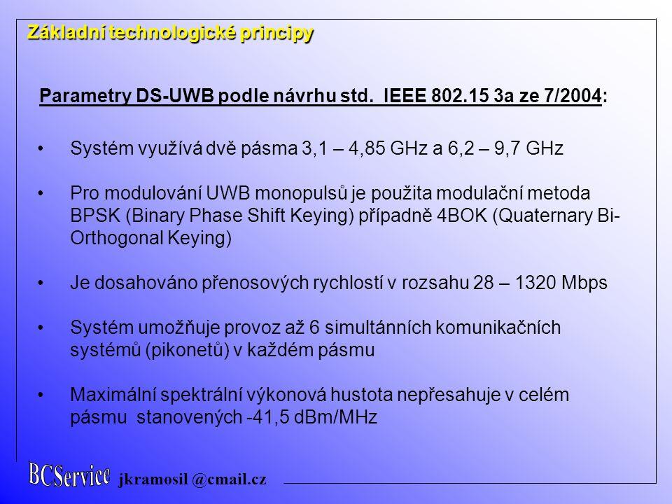 jkramosil @cmail.cz Základní technologické principy Systém využívá dvě pásma 3,1 – 4,85 GHz a 6,2 – 9,7 GHz Pro modulování UWB monopulsů je použita modulační metoda BPSK (Binary Phase Shift Keying) případně 4BOK (Quaternary Bi- Orthogonal Keying) Je dosahováno přenosových rychlostí v rozsahu 28 – 1320 Mbps Systém umožňuje provoz až 6 simultánních komunikačních systémů (pikonetů) v každém pásmu Maximální spektrální výkonová hustota nepřesahuje v celém pásmu stanovených -41,5 dBm/MHz Parametry DS-UWB podle návrhu std.