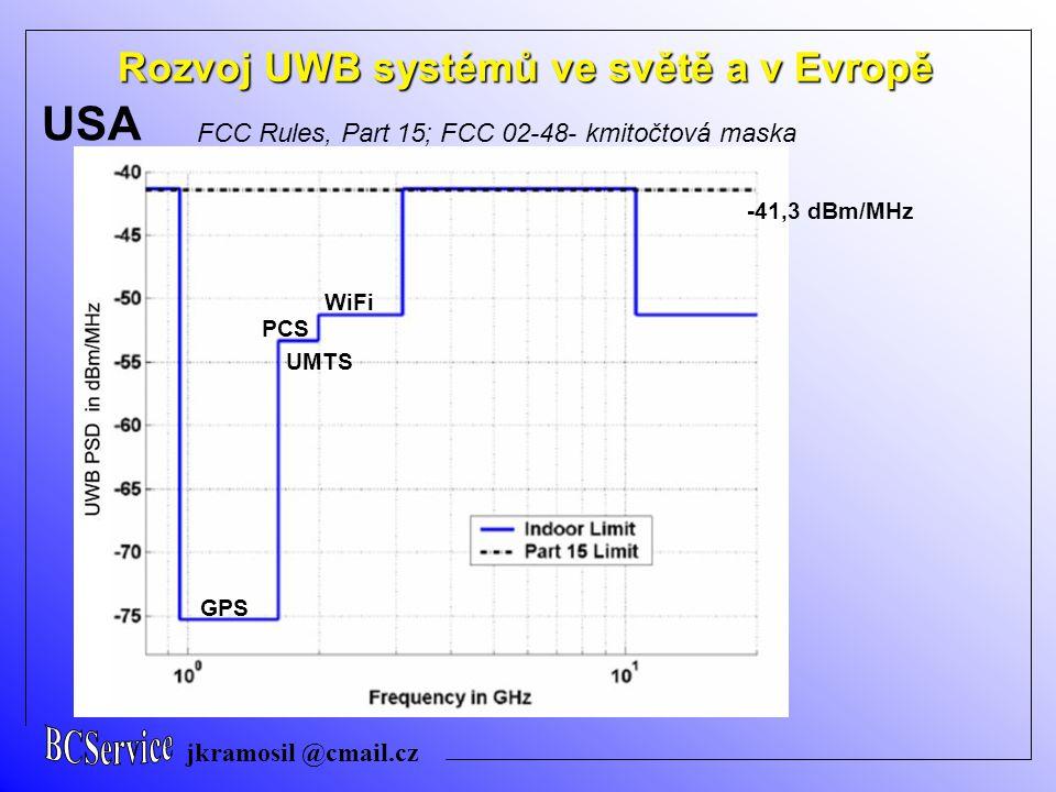 jkramosil @cmail.cz Rozvoj UWB systémů ve světě a v Evropě USA využití extrémně široké části kmitočtového spektra pro přenos informace, a to s minimální výkonovou spektrální hustotou FCC Rules, Part 15; FCC 02-48- kmitočtová maska -41,3 dBm/MHz GPS PCS WiFi UMTS