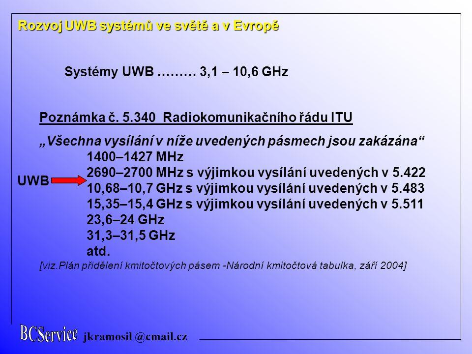 """jkramosil @cmail.cz Rozvoj UWB systémů ve světě a v Evropě Systémy UWB ……… 3,1 – 10,6 GHz Poznámka č. 5.340 Radiokomunikačního řádu ITU """"Všechna vysíl"""