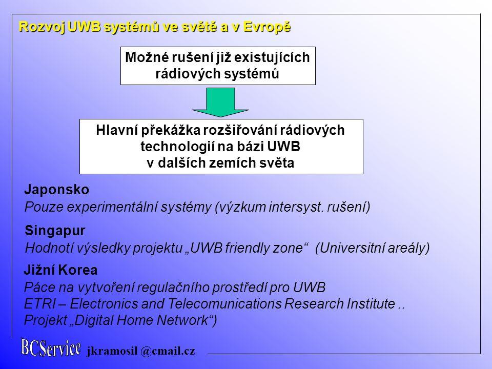 jkramosil @cmail.cz Rozvoj UWB systémů ve světě a v Evropě Možné rušení již existujících rádiových systémů Japonsko Pouze experimentální systémy (výzk