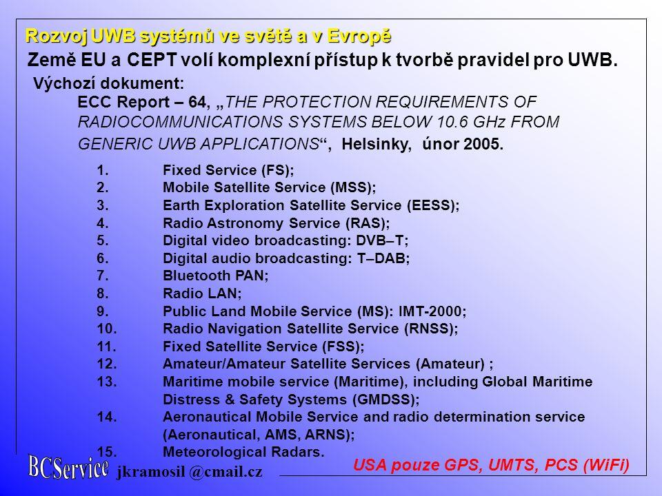 jkramosil @cmail.cz Rozvoj UWB systémů ve světě a v Evropě Země EU a CEPT volí komplexní přístup k tvorbě pravidel pro UWB. Výchozí dokument: ECC Repo
