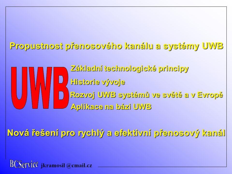 jkramosil @cmail.cz Základní technologické principy Historie vývoje Propustnost přenosového kanálu a systémy UWB Rozvoj UWB systémů ve světě a v Evrop