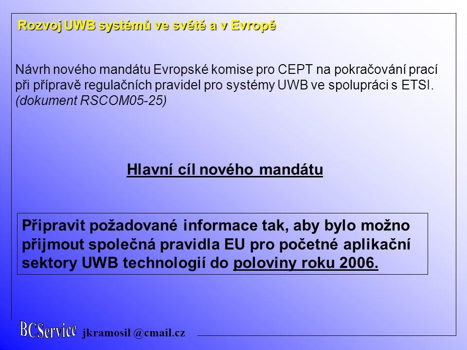 jkramosil @cmail.cz Rozvoj UWB systémů ve světě a v Evropě Návrh nového mandátu Evropské komise pro CEPT na pokračování prací při přípravě regulačních pravidel pro systémy UWB ve spolupráci s ETSI.