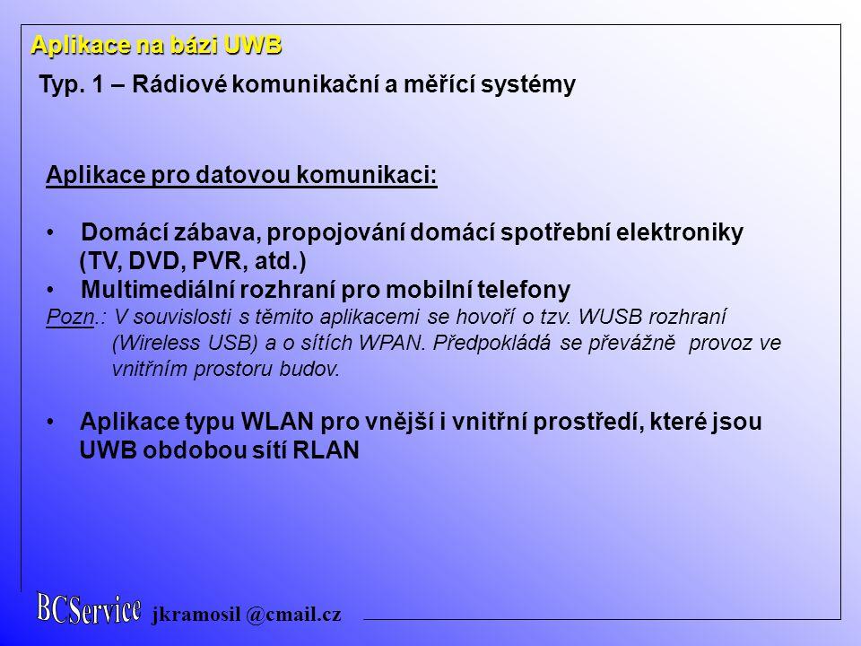 jkramosil @cmail.cz Aplikace na bázi UWB Typ. 1 – Rádiové komunikační a měřící systémy Aplikace pro datovou komunikaci: Domácí zábava, propojování dom