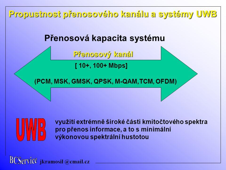 jkramosil @cmail.cz Přenosový kanál Přenosová kapacita systému [ 10+, 100+ Mbps] využití extrémně široké části kmitočtového spektra pro přenos informace, a to s minimální výkonovou spektrální hustotou (PCM, MSK, GMSK, QPSK, M-QAM,TCM, OFDM) Propustnost přenosového kanálu a systémy UWB