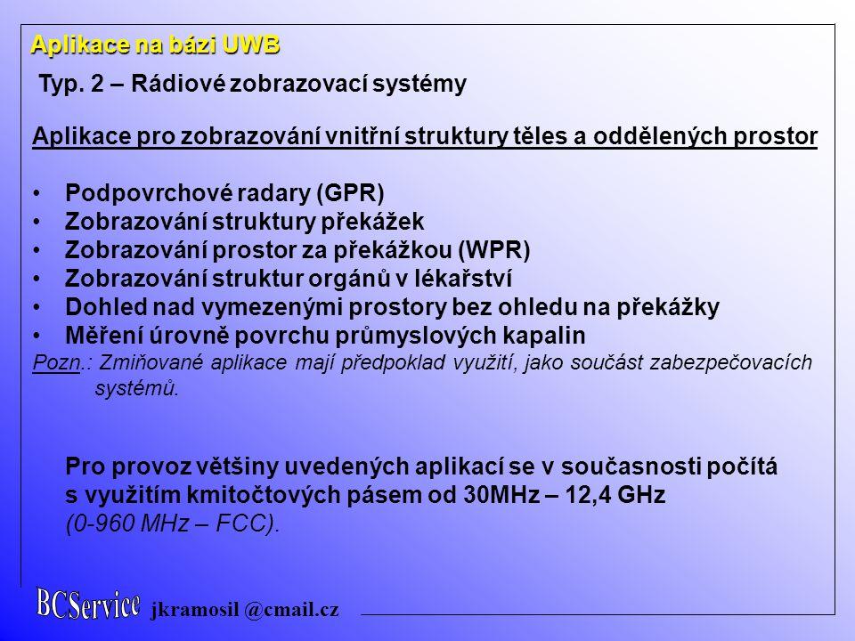 jkramosil @cmail.cz Aplikace na bázi UWB Typ. 2 – Rádiové zobrazovací systémy Aplikace pro zobrazování vnitřní struktury těles a oddělených prostor Po