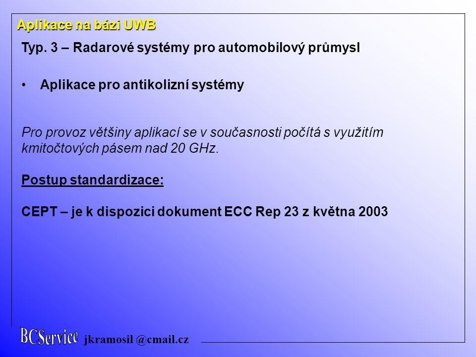 jkramosil @cmail.cz Aplikace na bázi UWB Typ. 3 – Radarové systémy pro automobilový průmysl Aplikace pro antikolizní systémy Pro provoz většiny aplika