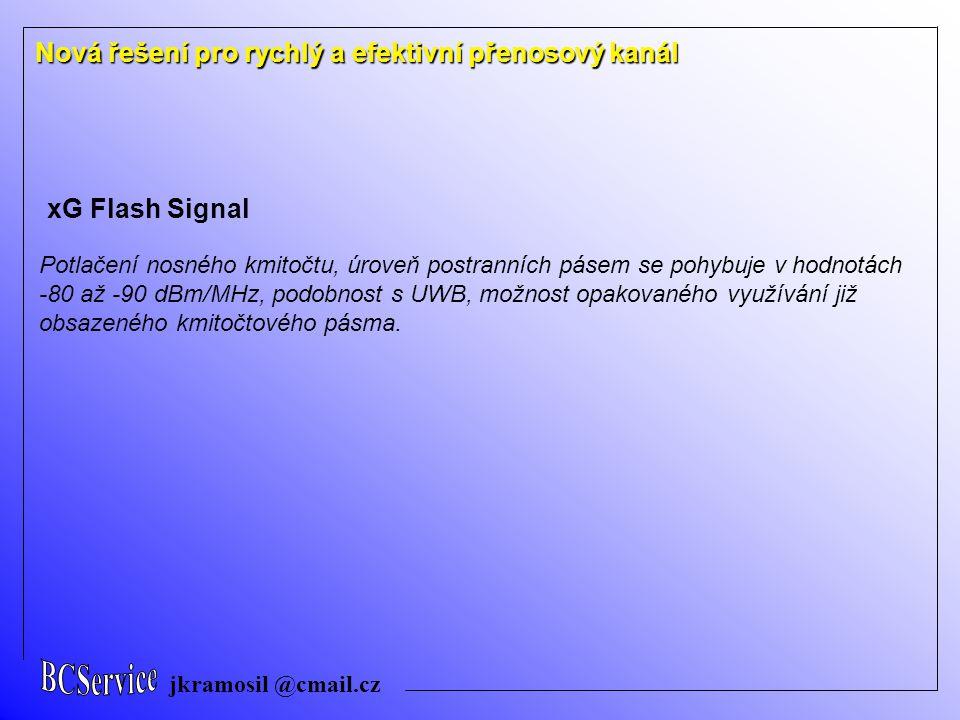 jkramosil @cmail.cz Nová řešení pro rychlý a efektivní přenosový kanál xG Flash Signal Potlačení nosného kmitočtu, úroveň postranních pásem se pohybuj
