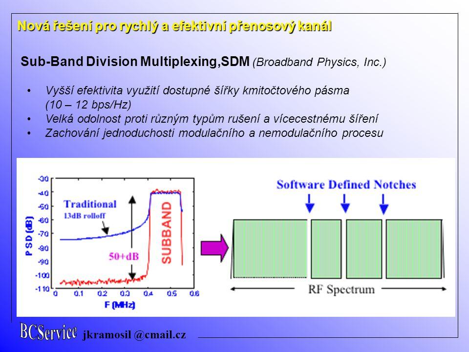 jkramosil @cmail.cz Nová řešení pro rychlý a efektivní přenosový kanál Sub-Band Division Multiplexing,SDM (Broadband Physics, Inc.) Vyšší efektivita v