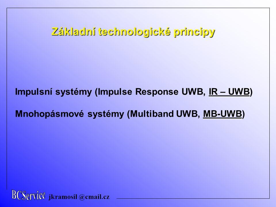 jkramosil @cmail.cz Základní technologické principy IR – UWB … Impulsní systémy Shannon–Hartleyova rovnice C = maximální přenosová kapacita [bit/sec] nebo [bps] B = šířka přenosového pásma kanálu [Hz] S = výkon signálu [W] N = úroveň šumu [W] Přenosová kapacita kanálu je přímo úměrná šířce přenosového pásma a klesá logaritmicky se snižováním poměru signál/šum v přenosovém kanálu.