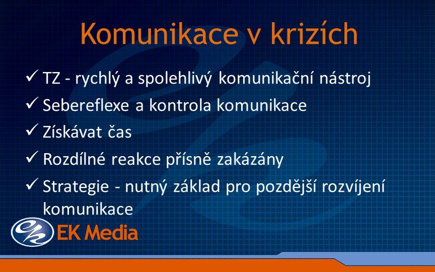 Komunikace v krizích TZ - rychlý a spolehlivý komunikační nástroj Sebereflexe a kontrola komunikace Získávat čas Rozdílné reakce přísně zakázány Strategie - nutný základ pro pozdější rozvíjení komunikace