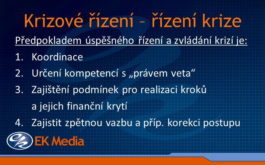 """Krizové řízení – řízení krize Předpokladem úspěšného řízení a zvládání krizí je: 1.Koordinace 2.Určení kompetencí s """"právem veta 3.Zajištění podmínek pro realizaci kroků a jejich finanční krytí 4."""