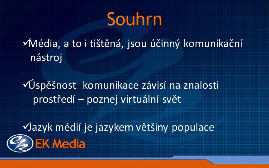 Média, a to i tištěná, jsou účinný komunikační nástroj Úspěšnost komunikace závisí na znalosti prostředí – poznej virtuální svět Jazyk médií je jazykem většiny populace Souhrn